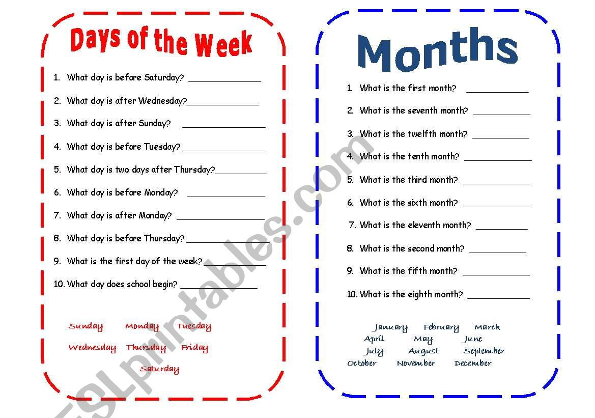Days of the Week and Months worksheet