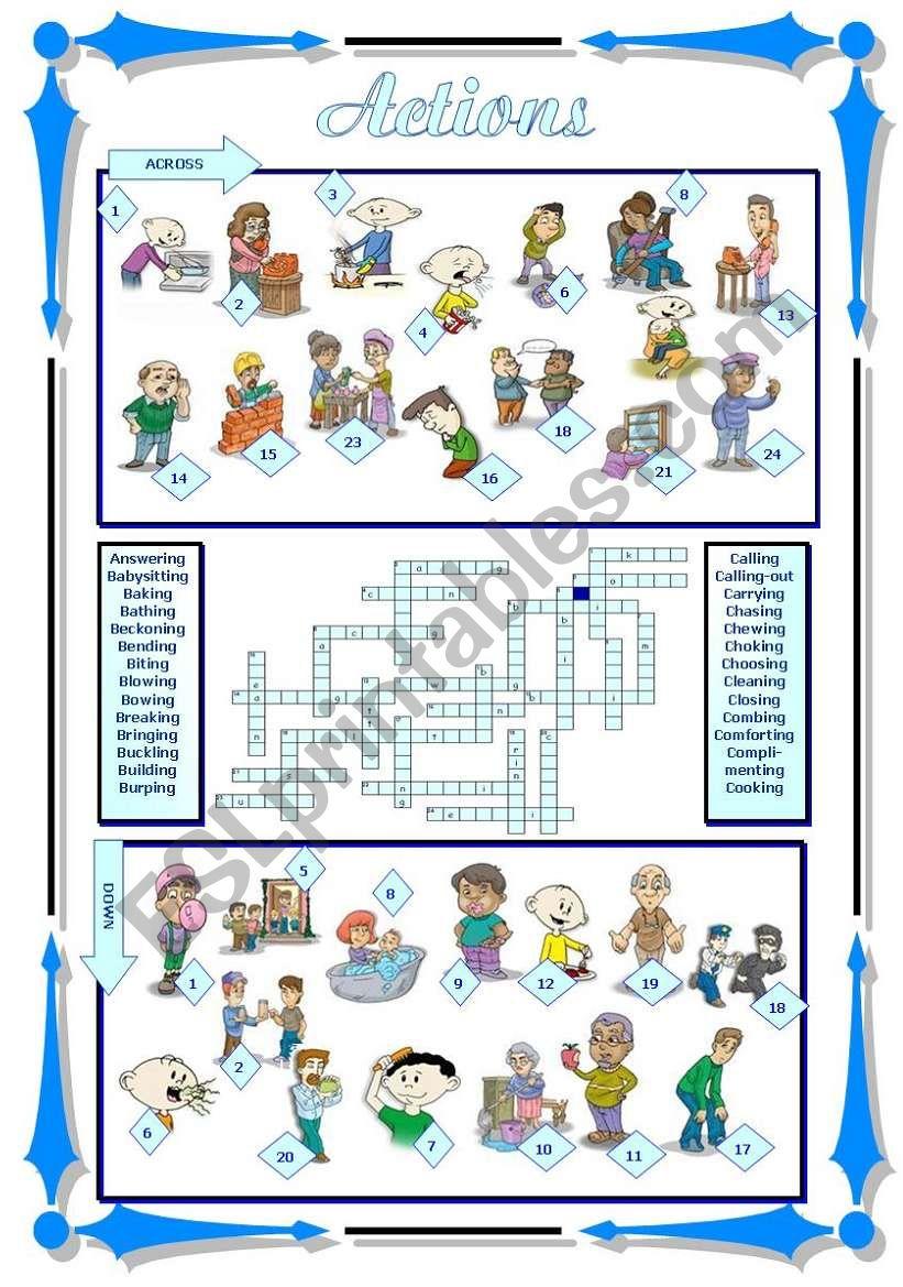 Actions (1/2) worksheet