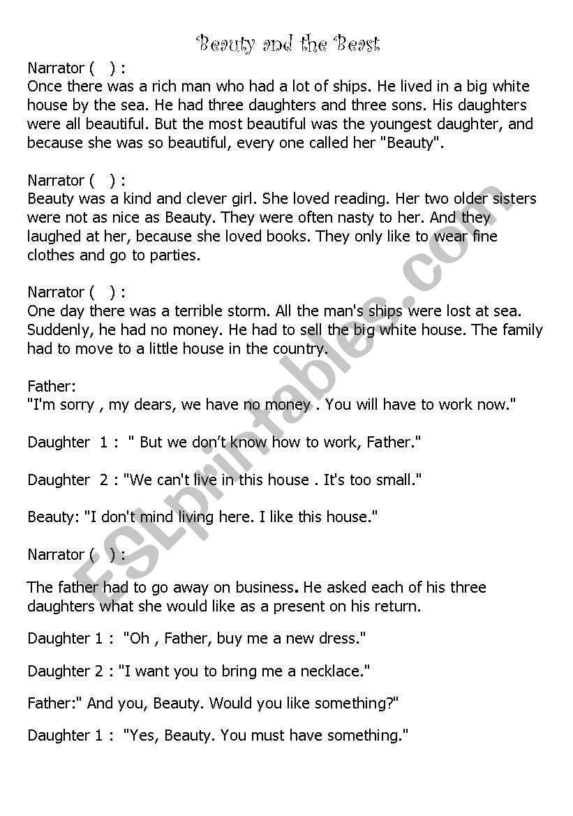 Beauty And The Beast A Play Script For Elementry Level Esl Worksheet By Ms Fadia