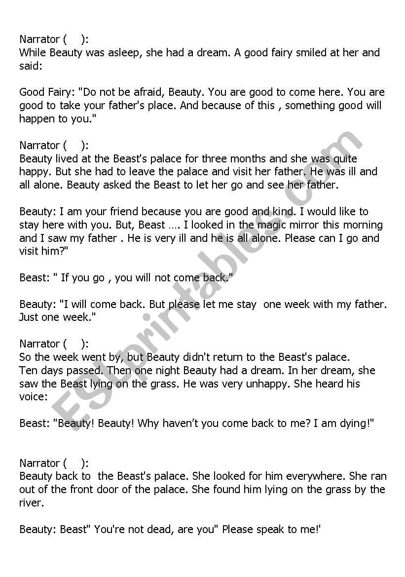 beauty and the beast short play script free