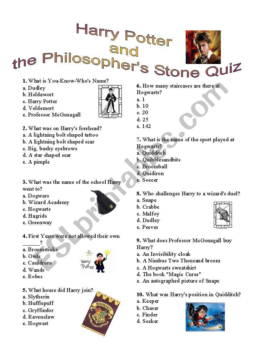 image about Harry Potter Quiz Printable identified as Harry Potter and the Philosopher´s Stone quiz - ESL