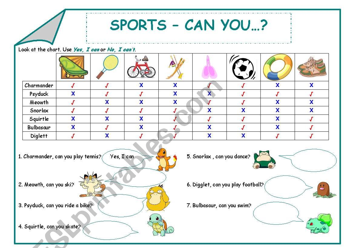 Sports - Can you...? worksheet