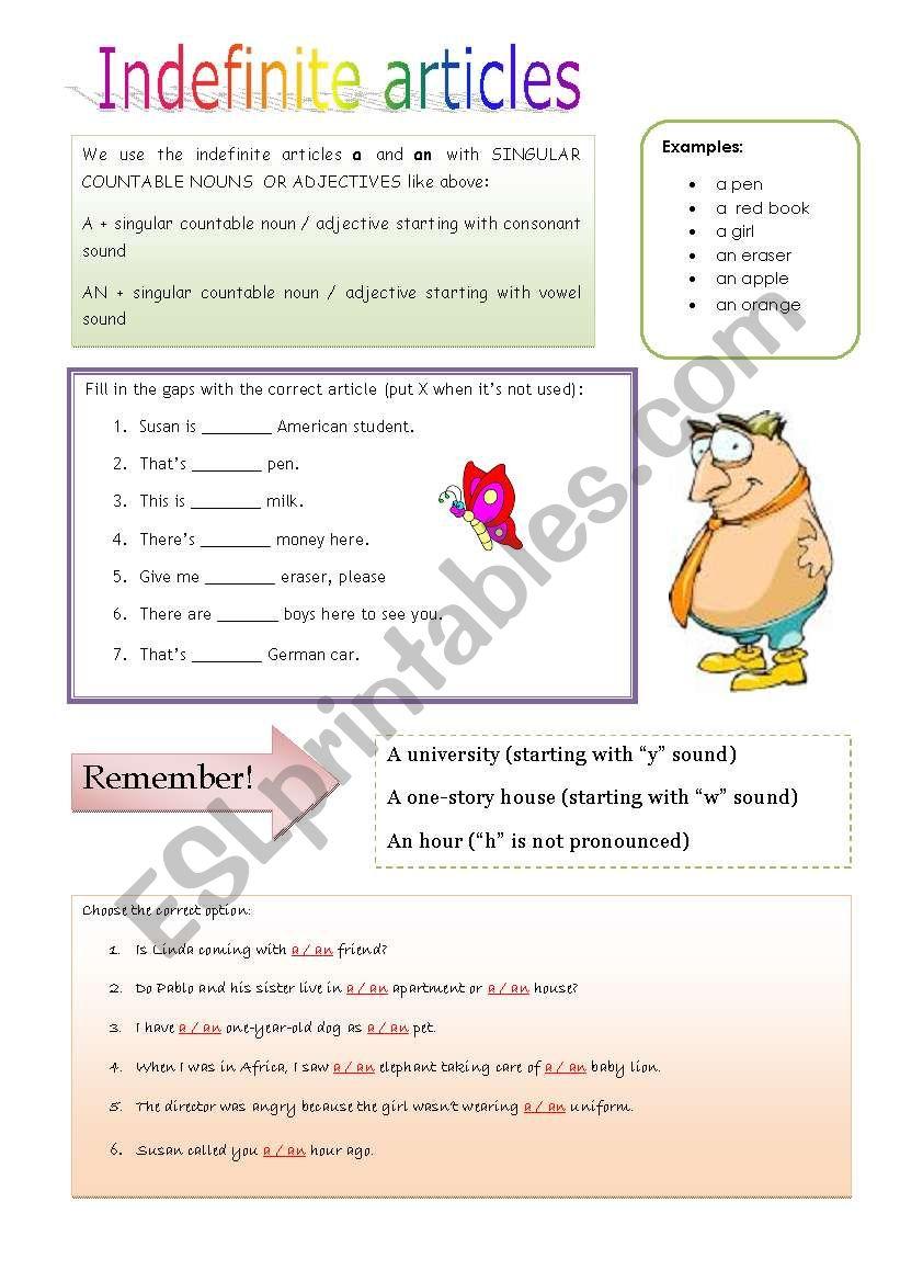 Indefinite articles worksheet