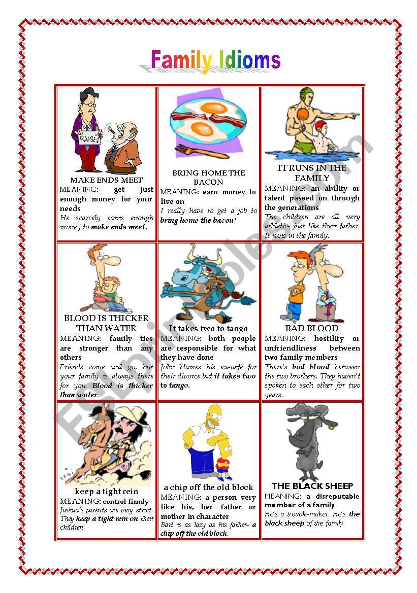 FAMILY IDIOMS worksheet