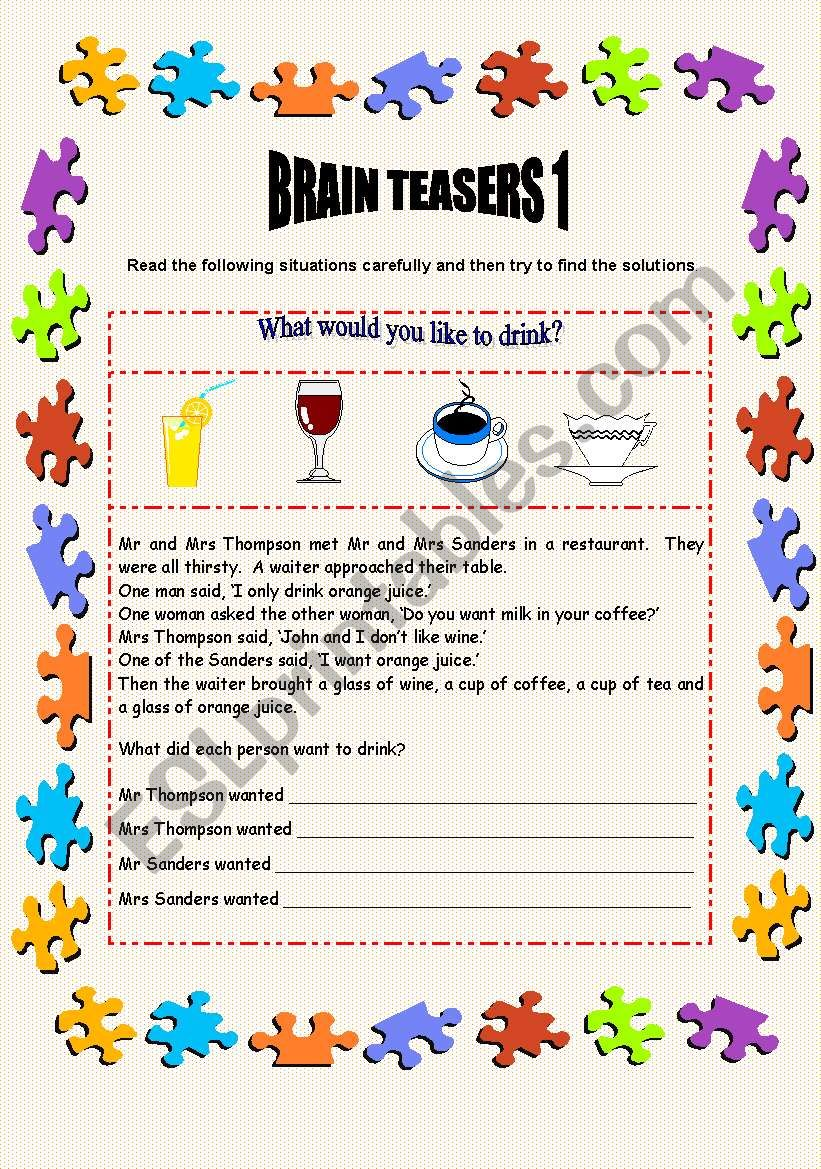 Brain Teasers 1 - 2 pages + key