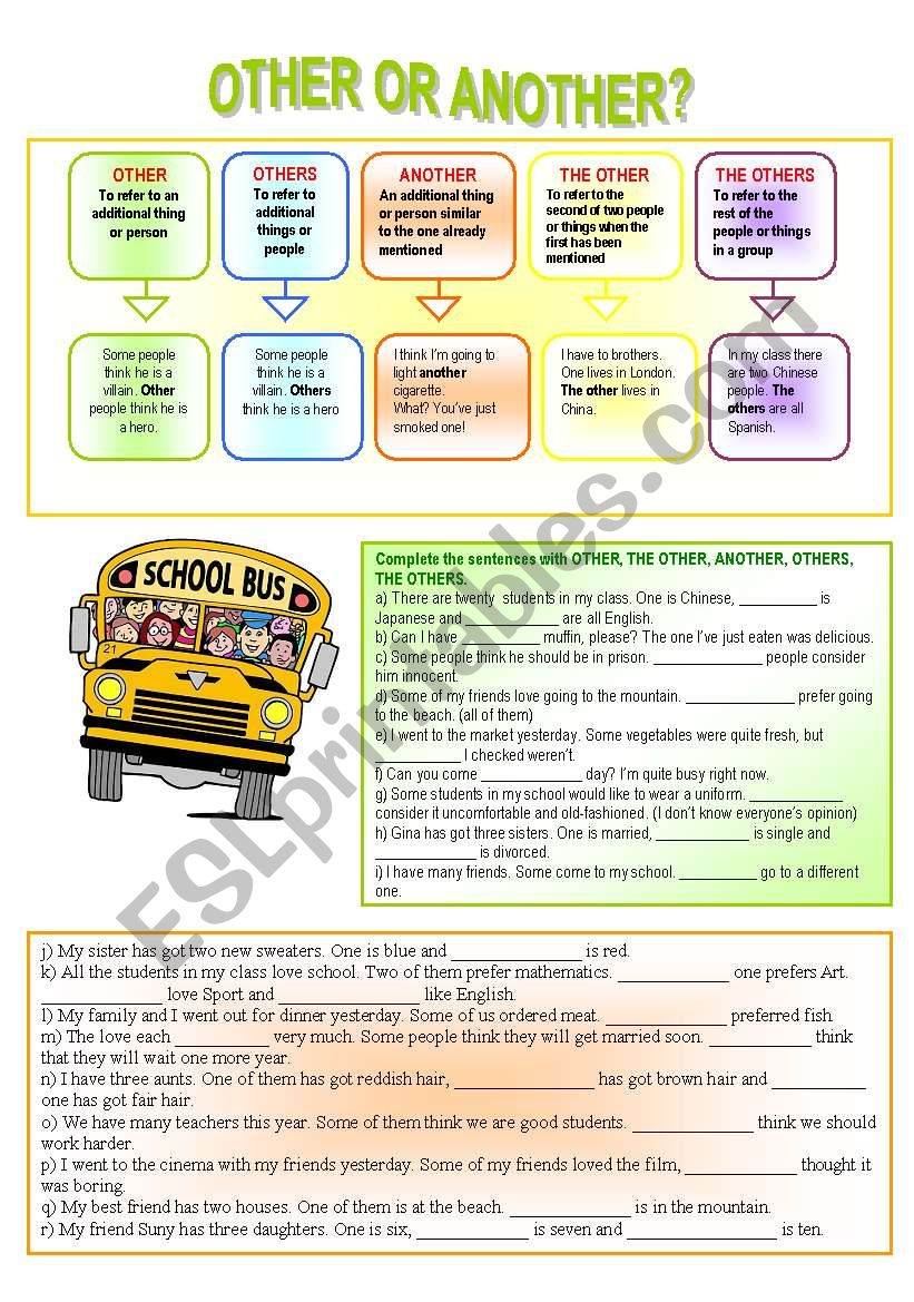 other or another? worksheet