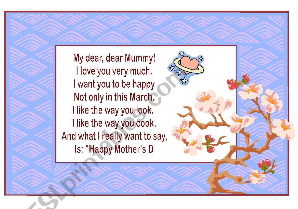Happy Mother´s Day worksheet