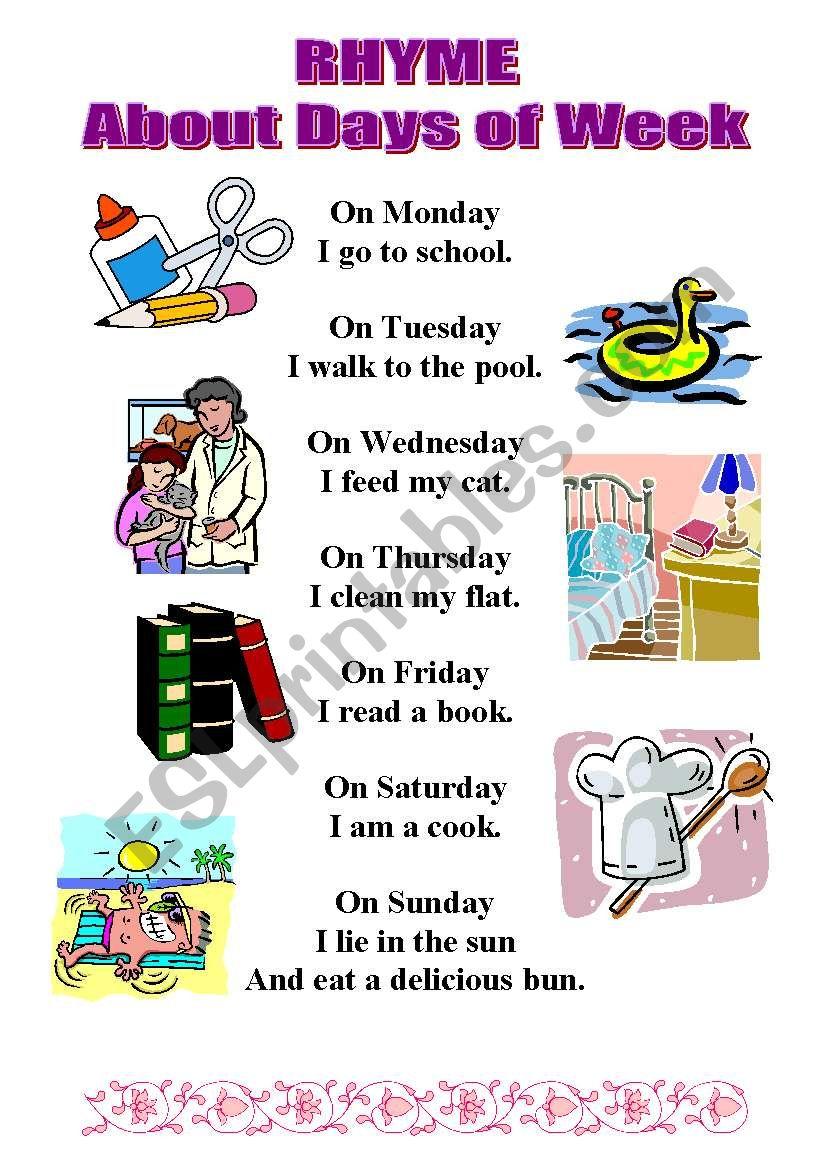 RHYME about days of week worksheet