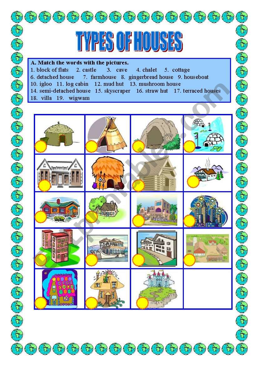 Types of houses -matching worksheet