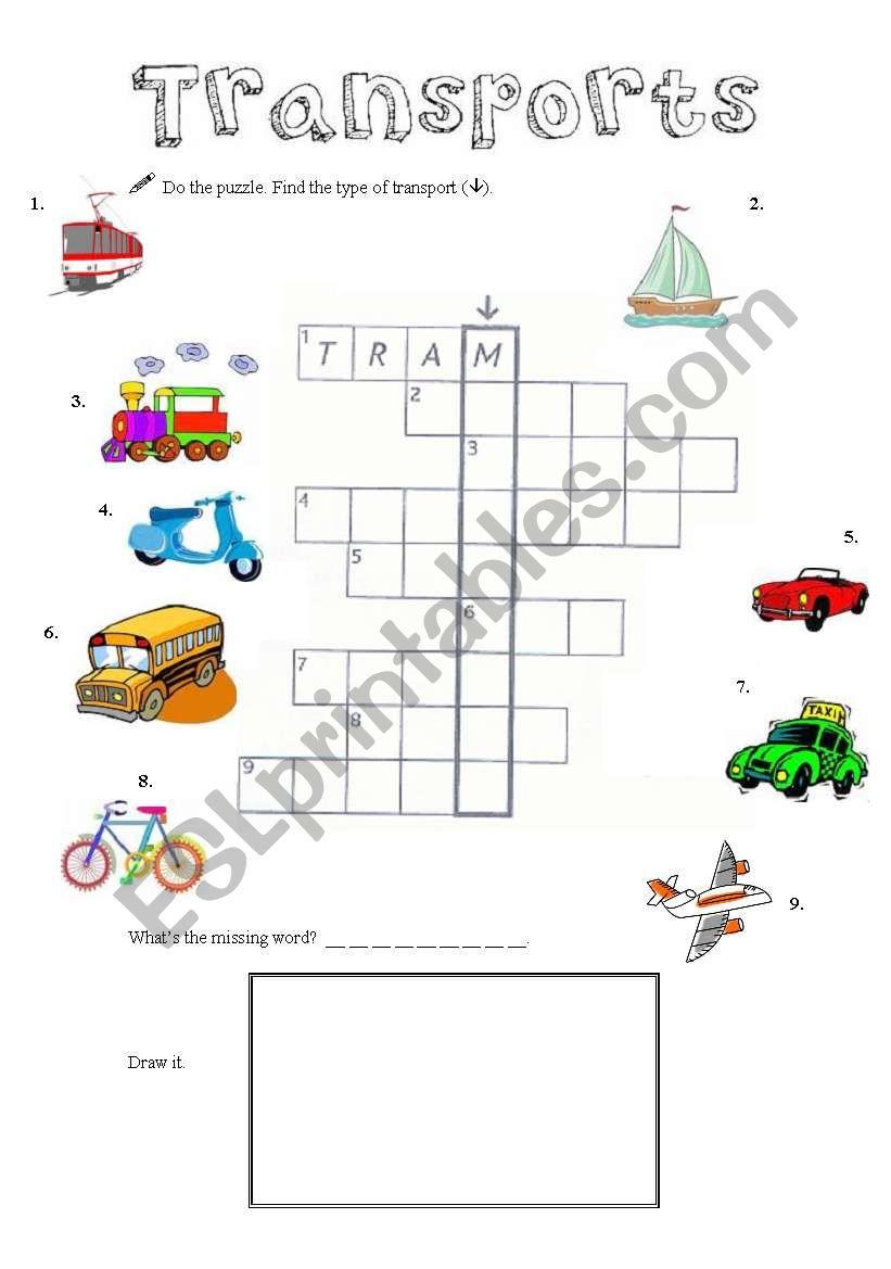 means of transport crosswords esl worksheet by bcorreia. Black Bedroom Furniture Sets. Home Design Ideas