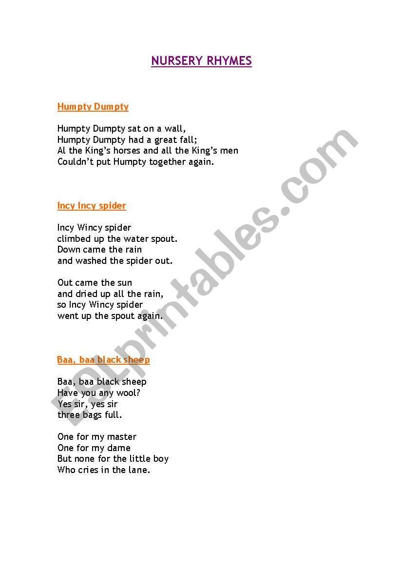 nursery rhymes worksheet