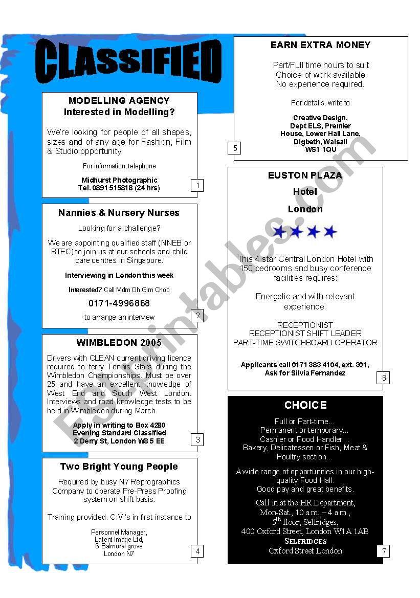 Classified worksheet