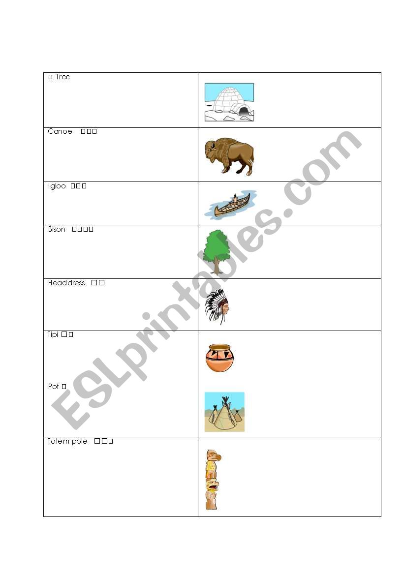 english worksheets english chinese first nations word match. Black Bedroom Furniture Sets. Home Design Ideas
