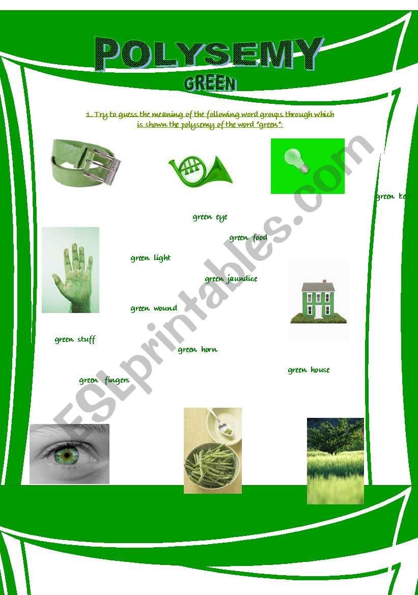Polysemy - Green worksheet