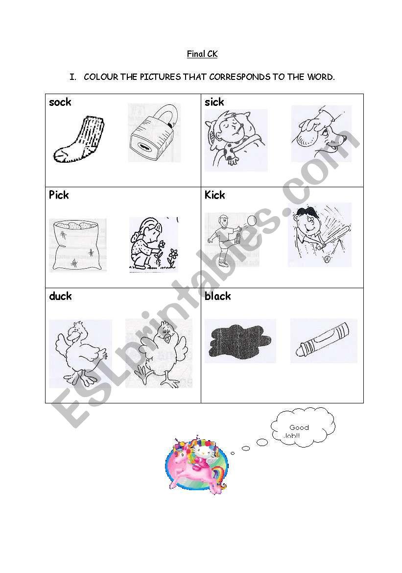 Final Ck Vocabulary Words Sound K