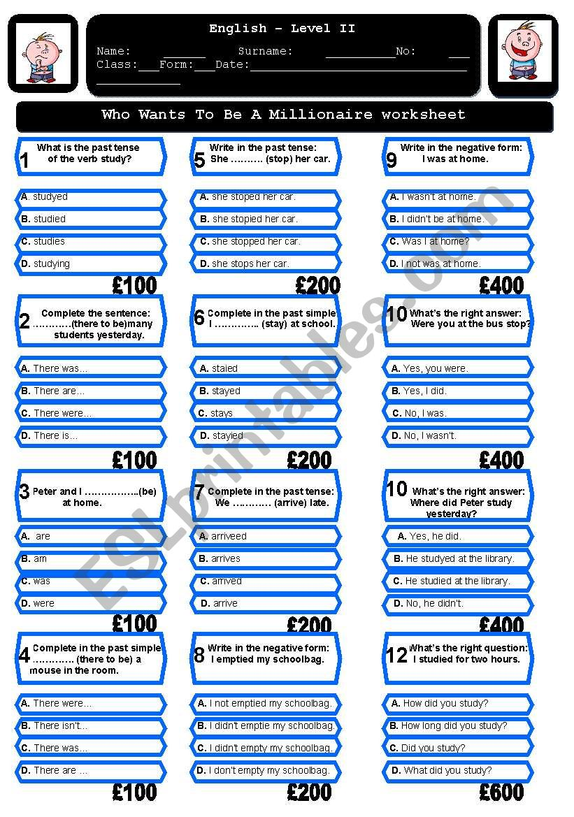 The Who wants to be a millionaire worksheet