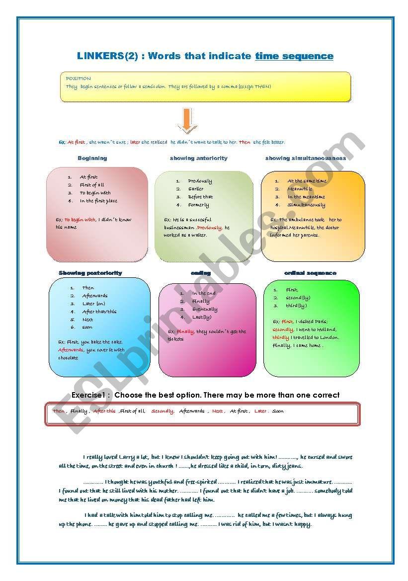 TIME LINKERS worksheet