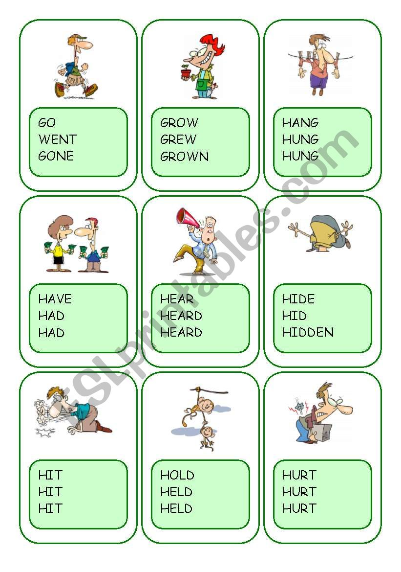 Irregular Verbs Card Game / Part 5