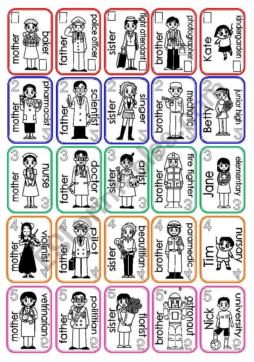 family card set(1/2) worksheet