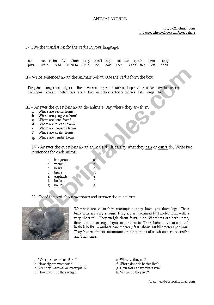 Wombats and Penguins worksheet