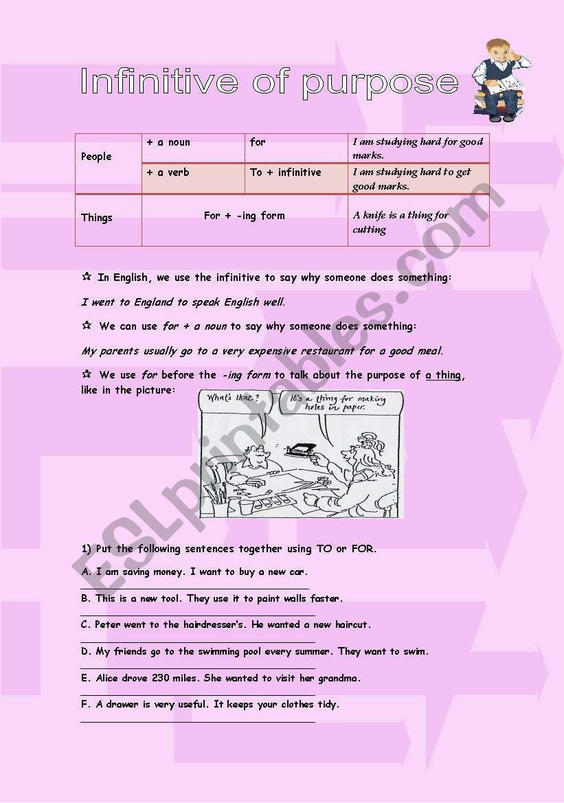 Infinitive of purpose worksheet