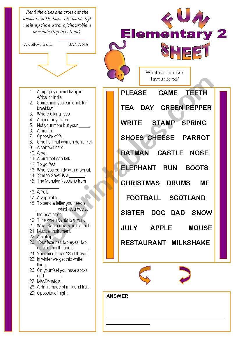 Fun Sheet Elementary 2 worksheet