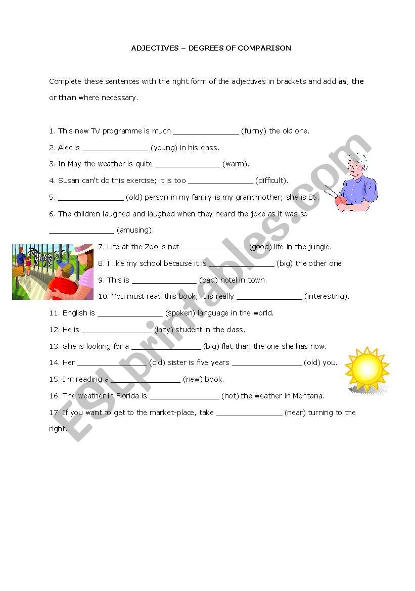 Adjectives - Degrees of Comparison - ESL worksheet by DanielaA
