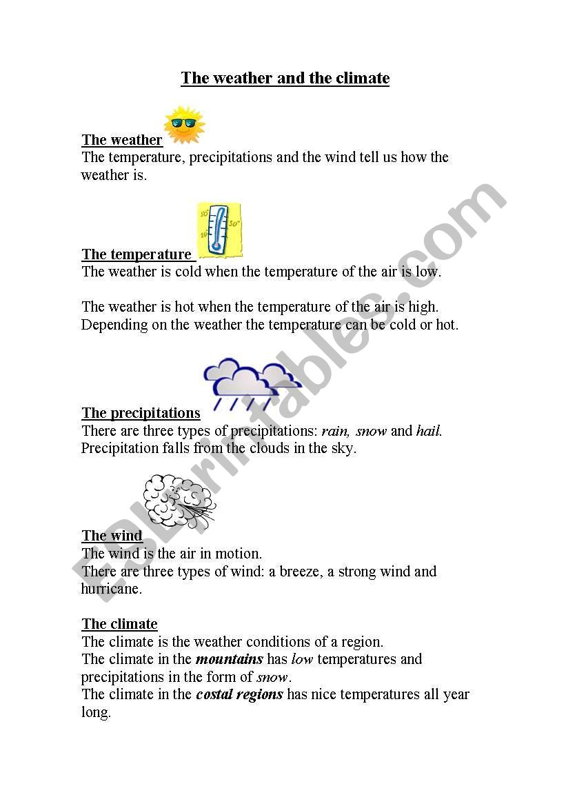 Weather And Climate Esl Worksheet By Kaylaj29