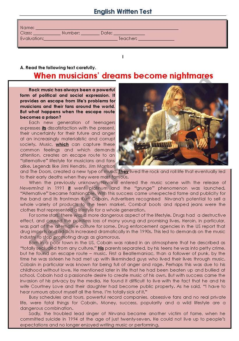 Test -  When musicians' dreams become nightmares