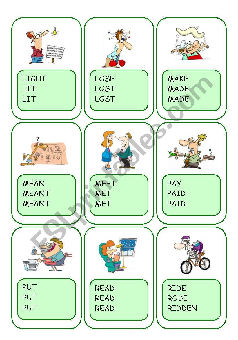 Irregular Verbs Card Game / Part 7