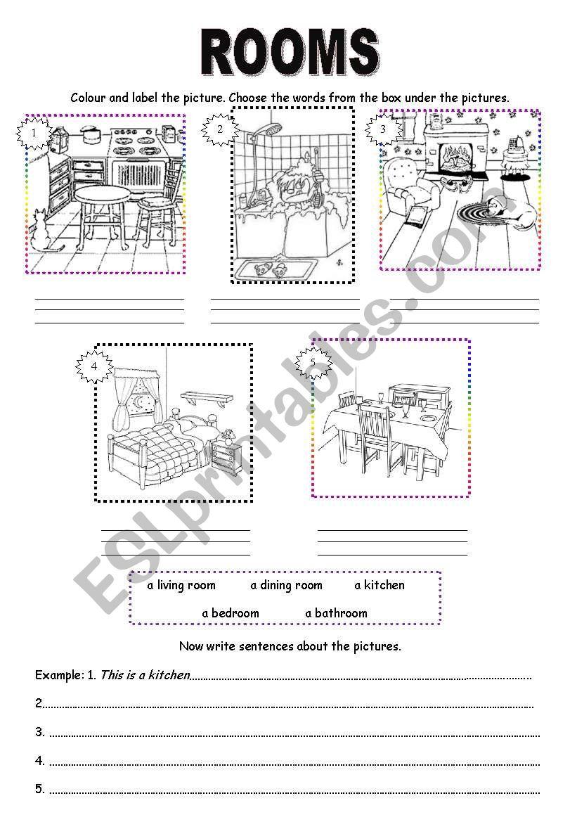 Rooms Worksheet: ESL Worksheet By Marta_marta