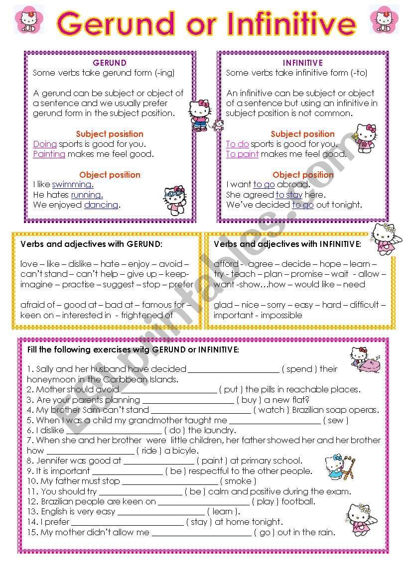 Gerund and Infinitive worksheet