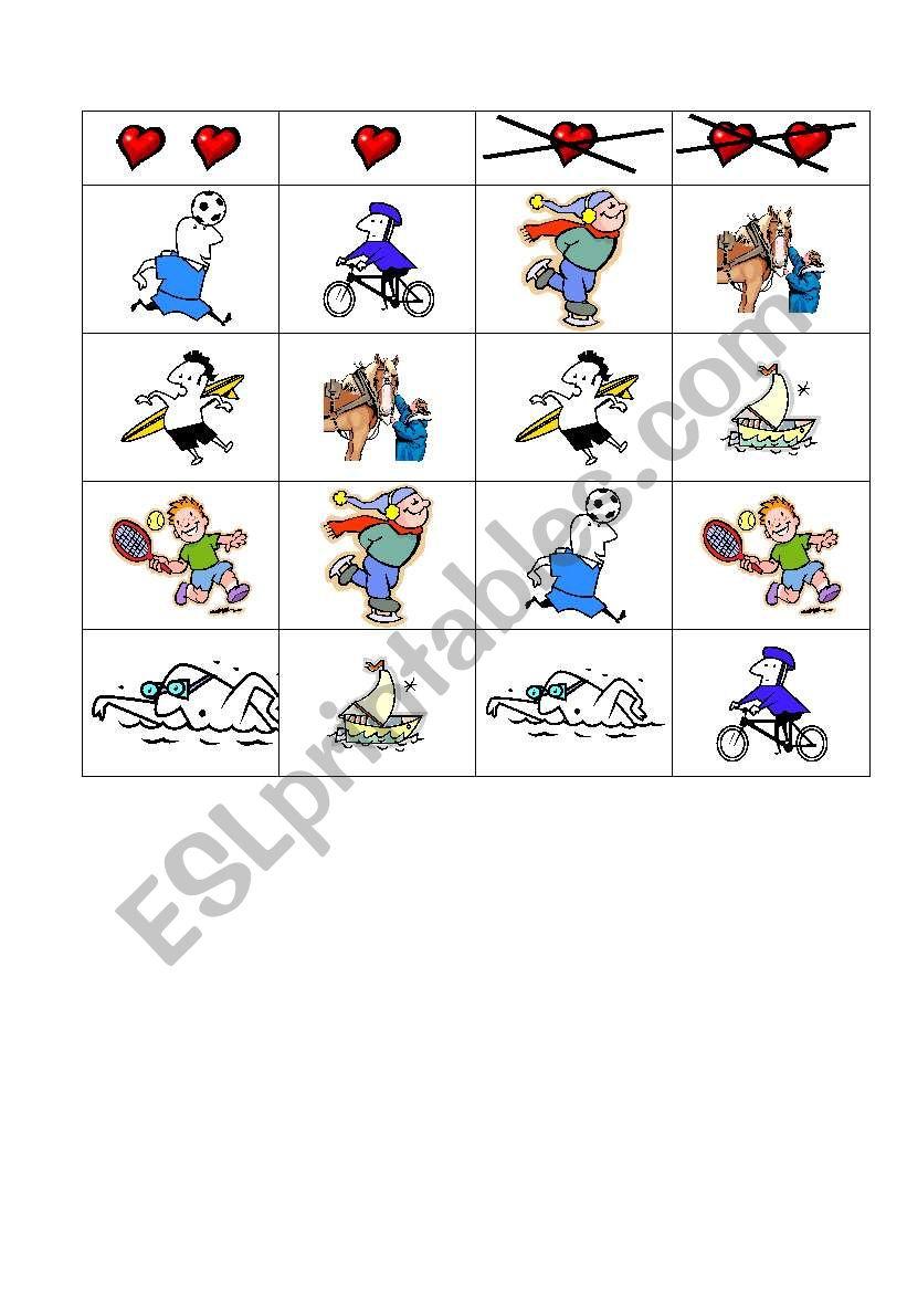 Sports grid worksheet