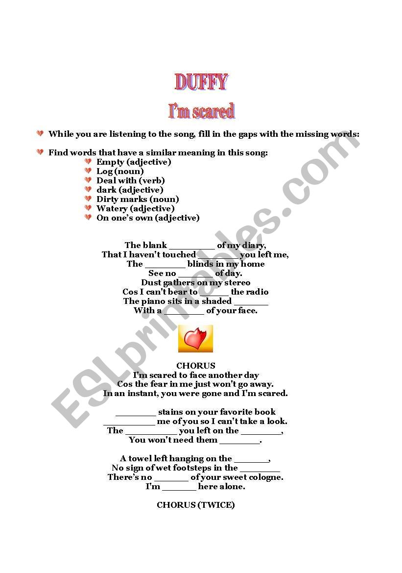 SONG BY DUFFY- I´M SCARED worksheet