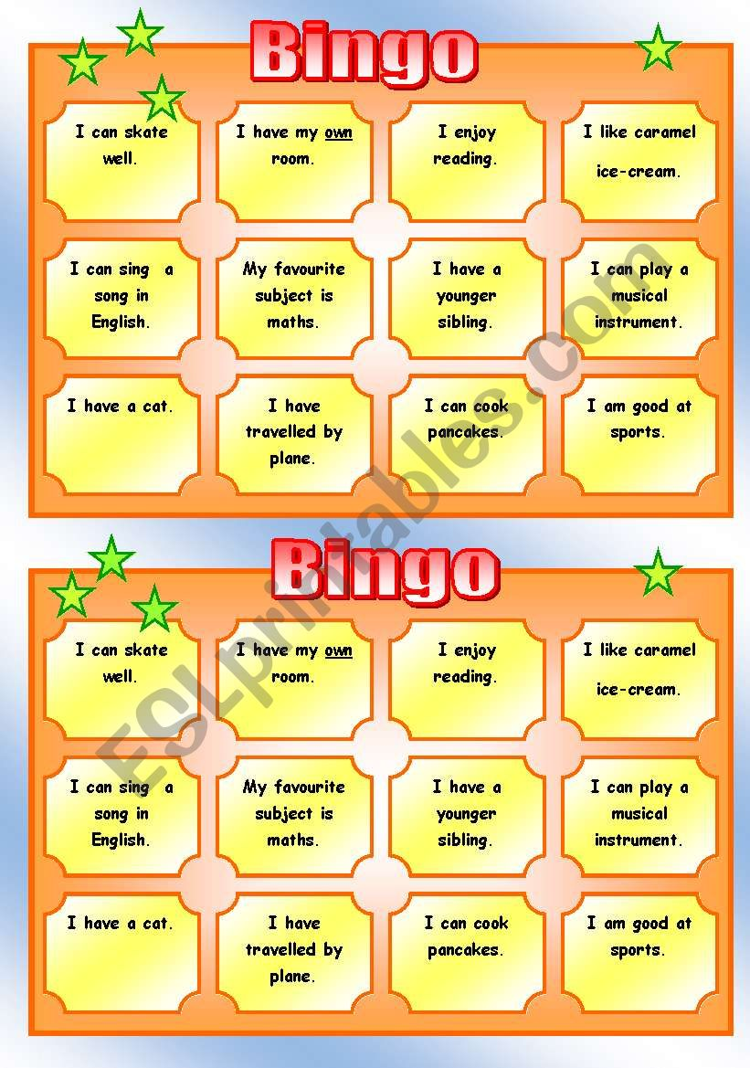Get to know each other BINGO worksheet