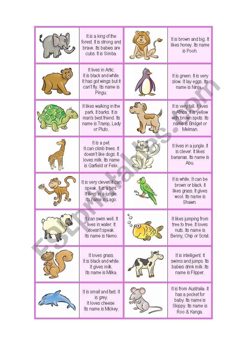 Animal Description Dominoes ( 32 CARDS ! + EXTRA RULES - 4 pages ) - A1-2 level