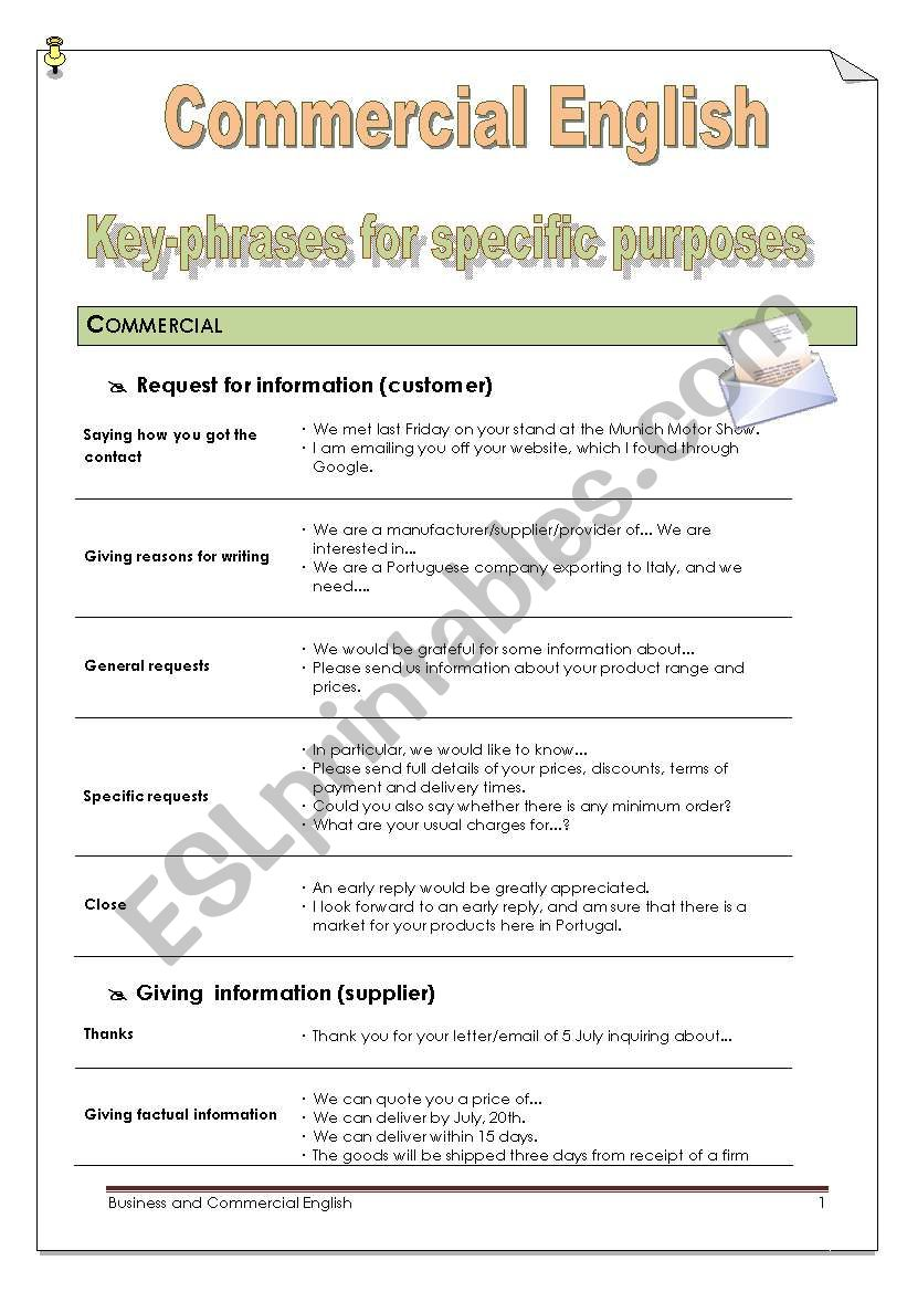 Commercial English: Key phrases for Specific Purposes