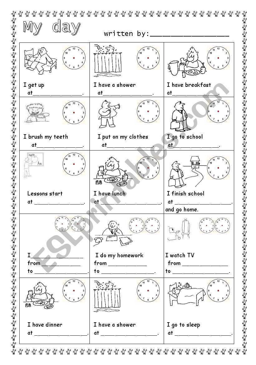 Daily routine-guided writing worksheet