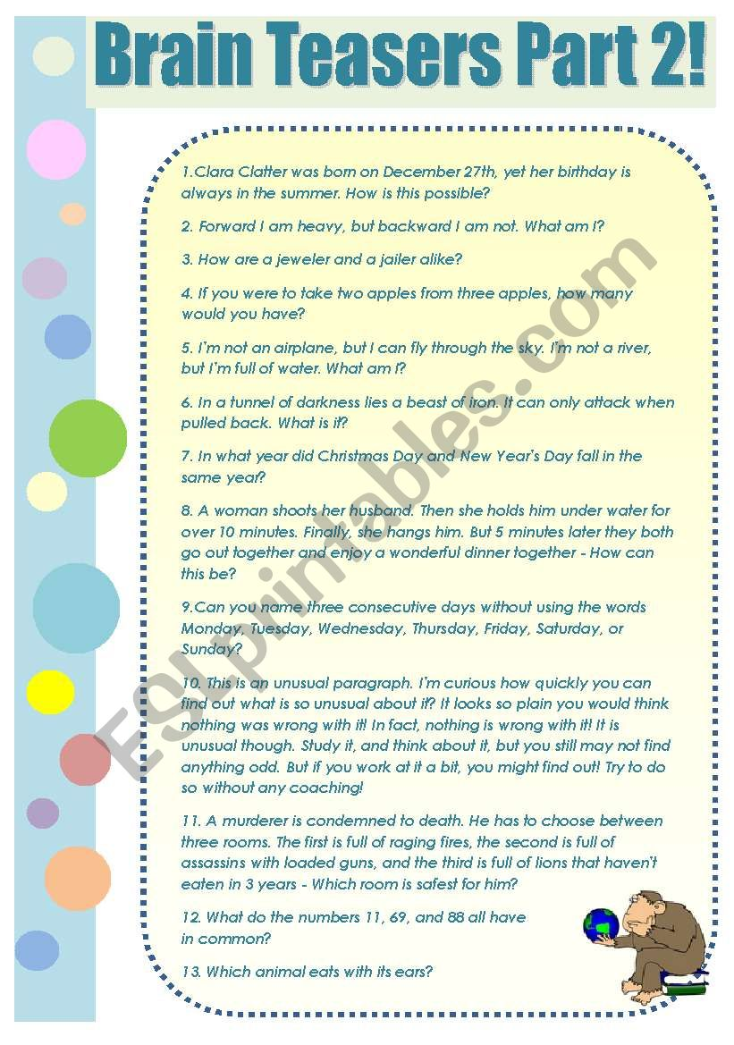 BRAIN TEASERS! - part 2 - a collection of funny brain teasers with keys to entertain your students!