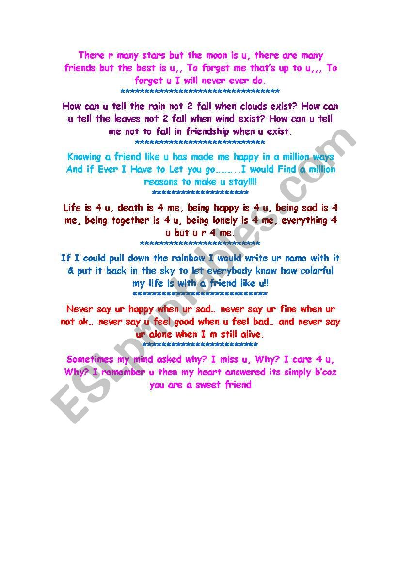 Sms Messages Esl Worksheet By Naryana