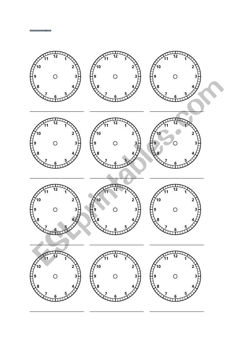 blank clock worksheet esl worksheet by steryder. Black Bedroom Furniture Sets. Home Design Ideas