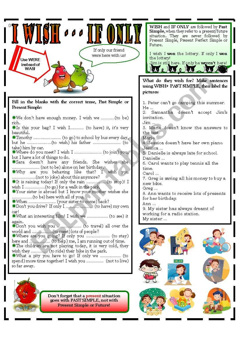 I WISH - - IF ONLY worksheet