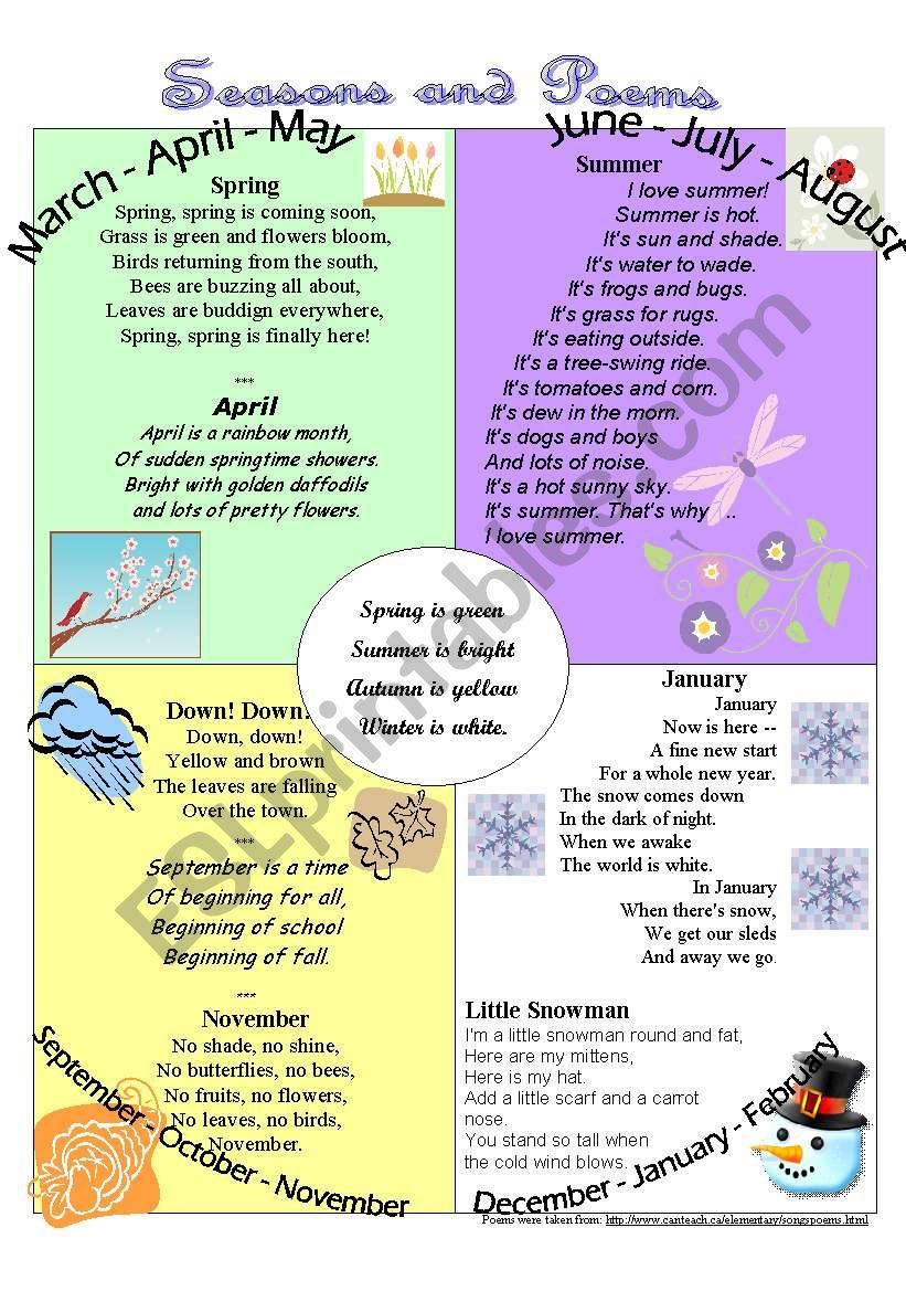 Seasons and Poems worksheet