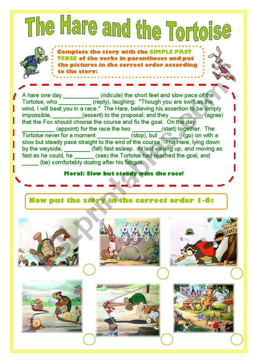 The Hare And The Tortoise Simple Past Tense Story Esl Worksheet