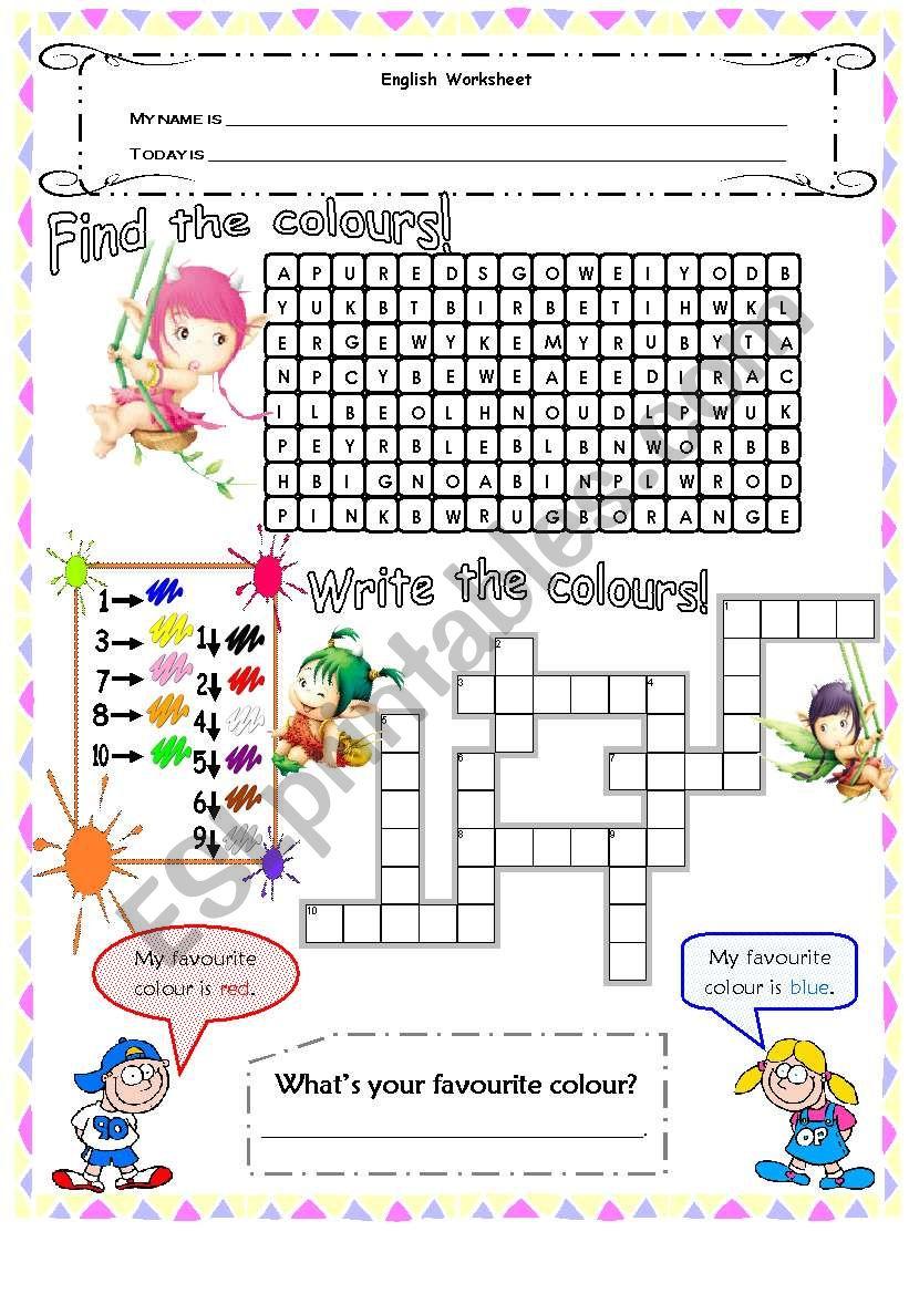Colours - wordsearch & crosswords