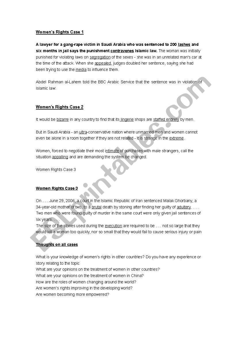Women´s Rights  worksheet