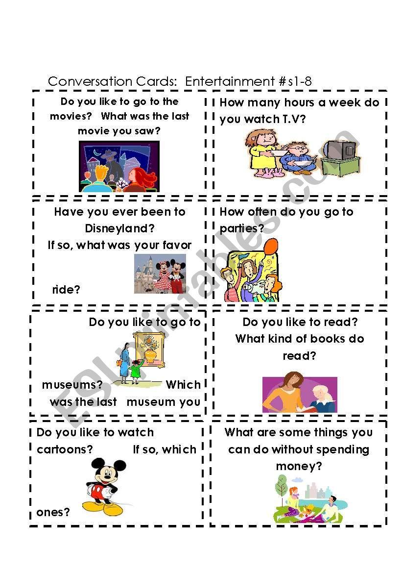Conversation Cards  Entertainment #s 1-8