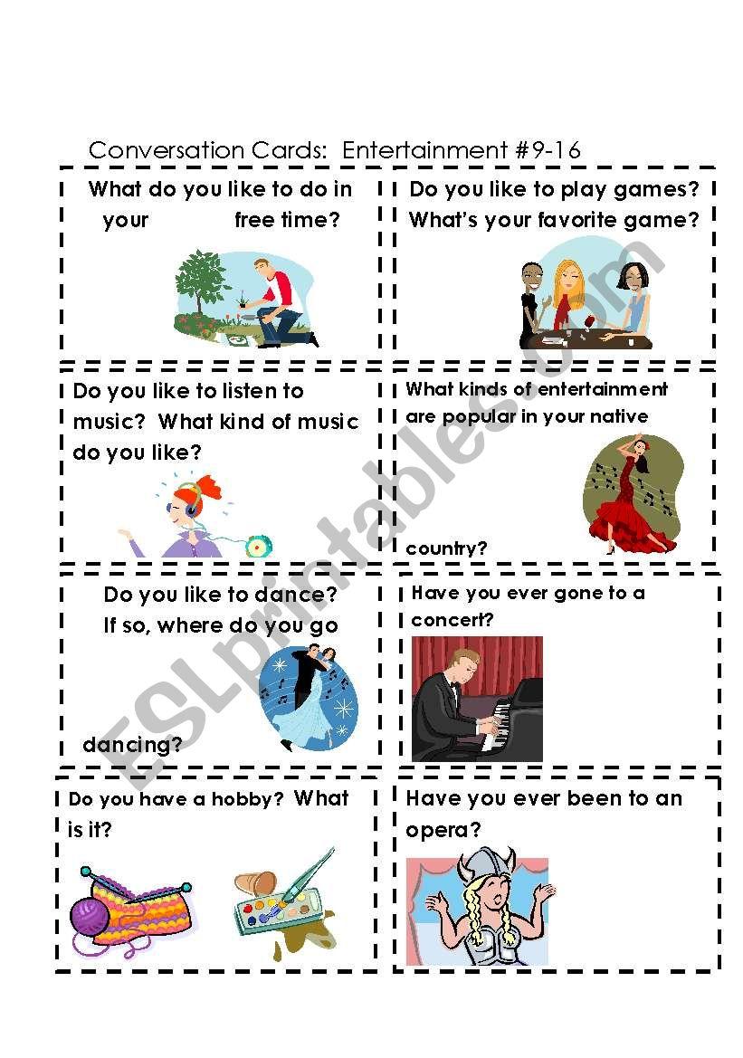 Conversation Cards  Entertainment  #s 9-16