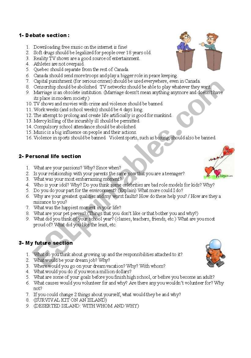 CLASS DISCUSSION: HOT TOPICS worksheet