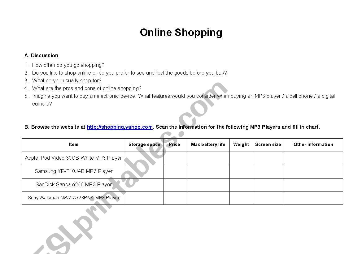 Online shopping activity scanning skill